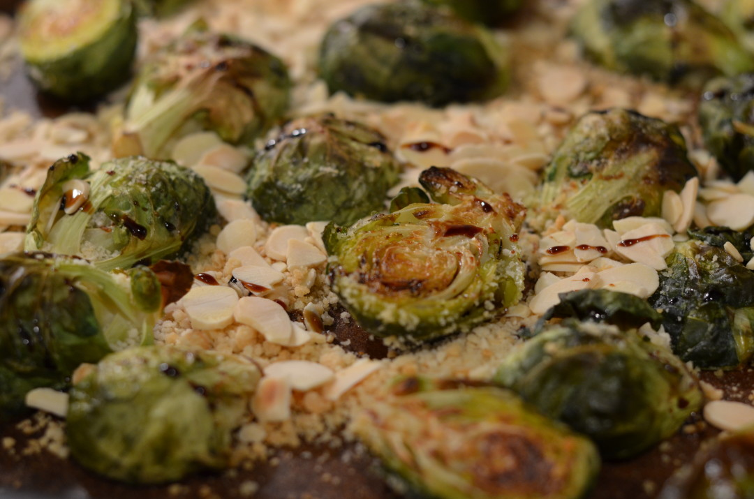 Oven Roasted Brussel Sprouts with  Vanilla Balsamic Glaze