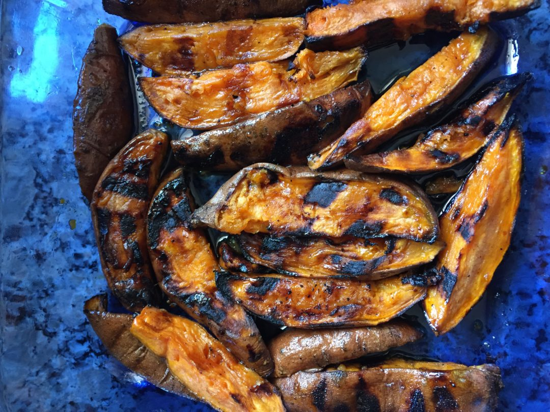 Grilled Glazed Sweet Potato Wedges